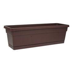 Jardinera rectangular de plástico color chocolate de 60 cm X 20 cm X 16 cm con plato recolector de agua.