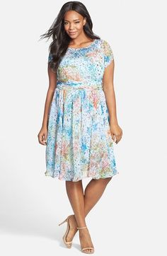 Adrianna Papell Floral Print Chiffon Dress (Plus Size) available at #Nordstrom