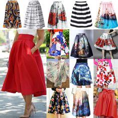 CH-Retro-Women-High-Waist-Waistband-Skater-Flared-Pleated-Swing-Long-Skirt-Dress