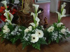 Grouping of small designs which could be transported to reception and then gifted to special guests Funeral Floral Arrangements, Tropical Floral Arrangements, White Flower Arrangements, Flower Centerpieces, Flower Decorations, Grave Flowers, Altar Flowers, Church Flowers, Funeral Flowers