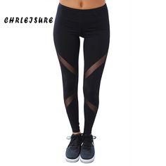 d47e3f0eddfefc Didiopt Leggings Black Yoga Pants Women Patchwork Transparent Sport Fitness  Leggings Gym Clothing Trousers for Women 2017 Summer