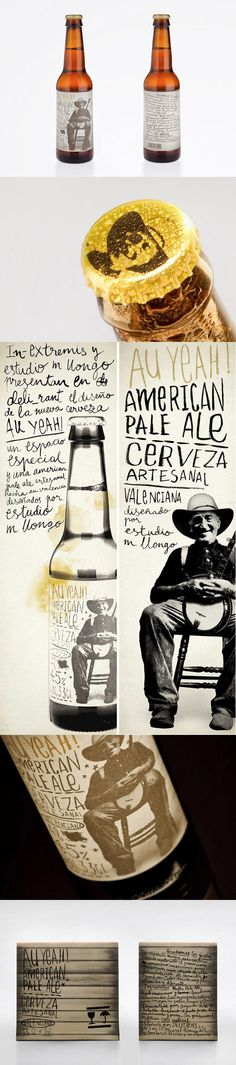 "Au Yeah! American Pale Ale ••• How different is this beer label compared to its more traditional competitors. Au Yeah! American Pale Ale is brewed in Valencia and have been inspired by American lagers.    The product packaging refers to American dixie culture: the label shows a picture of a smiling redneck holding a banjo in his arms. The typeface that describes the beer has been hand-drawn and intends to imitate a handmade look ""dirty""."