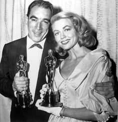 Anthony Quinn (Lust for Life) and Dorothy Malone (Written in the Wind), the winners of the supporting acting Oscars for 1956