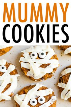 Healthy soft pumpkin cookies decorated with frosting and candy eyes to make spooky mummy cookies. So cute and perfect for Halloween. #mummy #halloween #pumpkin #cookies #pumpkincookies #eatingbirdfood