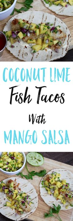 Enjoy these gluten free Coconut Lime Fish Tacos With Mango Salsa in under 30 minutes for a healthy and delicious weeknight meal. via @euphorianutr