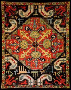 Եզակի ասեղնագործ գորգ, 17-րդ դար, Արցախ, գտնվում է Շուշիի գորգերի թանգարանում: Unique embroidered rug, 17th century, Artsakh, stored at Shushi's Rugs and Carpets Museum. — в Shushi