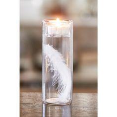 Dit hoge glas is gevuld met een lange veer en aan de bovenkant bevindt zich een kleine uitsparing voor een theelichtje. Een echte blikvanger!