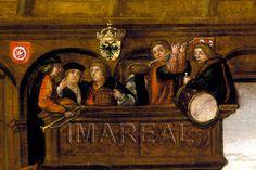 Geschlechtertanz im Tanzhaus von Augsburg  Kunstwerk: Malerei-Holz ; Tafelbild ; Augsburg  Dokumentation: 1490 ; 1510 ; Augsburg ; Deutschland ; Schwaben ; Maximiliansmuseum ; 3821  Anmerkungen: 93x115