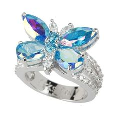 Kirks Folly Monarch Dream Aqua Butterfly Ring ❤ liked on Polyvore featuring jewelry, rings, marquise-cut diamond rings, colorful rings, monarch butterfly jewelry, tri color jewelry and multi color jewelry