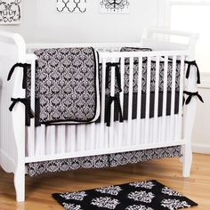 Black Damask Crib Bedding | Gender Neutral Black and White Damask Pattern Baby Bedding | Carousel Designs