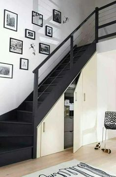 Modern Staircase Design Ideas - Stairs are so common that you do not provide a doubt. Check out best 10 examples of modern staircase that are as sensational as they are . Staircase Storage, Loft Stairs, Stair Storage, House Stairs, Under Stairs, Closet Storage, Basement Renovations, Home Renovation, Home Remodeling