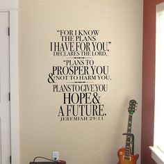 Jeremiah 29 - For I know the plans...Vinyl Wall Decal Lettering Sticker Design Art