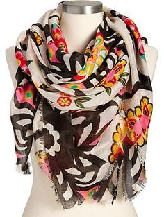 Women's Floral Gauze Scarves | Old Navy