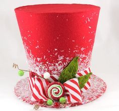 Christmas tree topper,Candy Cane tree topper. Holiday Hat decoration, Christmas decor on Etsy, $25.00