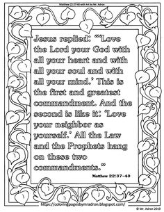 """Free Print and Color Page Matthew """"Love the Lord your God,"""" Bible Verse Free Printable Coloring Pages, Coloring Pages For Kids, Good Samaritan Craft, Wise Quotes, Wise Sayings, Matthew 22 37, Bible Verse Coloring Page, Flower Structure, How To Shade"""