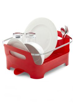 Chore I Can Dish Rack in Red, #ModCloth  I would normally never pay 30 bucks for a dish rack but I really love this one....so I'm thinking about it.