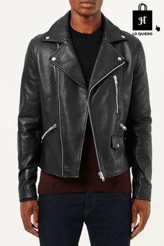 cazadoras para hombre modelo biker negro cuero topman #Biker #Harrington #Moda #ModaHombre #Hombre #Tendencias