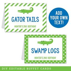 Use these editable tent cards as food labels on your buffet, or as place cards... Party Food Labels, Party Favor Tags, Party Printables, Alligator Birthday Parties, Alligator Party, Luau Party, Diy Party, Crocodile Party, Birthday Diy