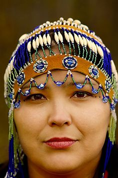 Alaska, Anchorage, Alaskan Native woman with beaded headdress