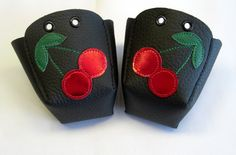 Black leather Roller Derby skate toe guards with Red cherry on Etsy, 167,44 kr