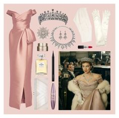 """The Crown - Princess Margaret"" by theprissydiary ❤ liked on Polyvore featuring Monique Lhuillier, Lorraine Schwartz, Coast, John Lewis, Ben-Amun, MAC Cosmetics, GCGme, Chanel, Clarins and Maybelline"
