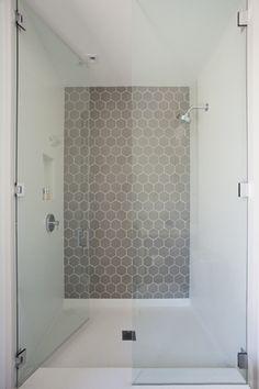 Full Ht. Door - Installation Inspiration - Heath Ceramics grey hexagon tile shower accent wall