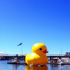 Bring me sunshine, giant yellow duck and blue sky.