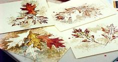 Tips for painting watercolor greeting cards made by using real leaves to stamp and stencil. Cards will look like you spent hours painting in the details. Watercolor Projects, Watercolor Cards, Watercolour Tutorials, Watercolor Paintings, Watercolor Water, Watercolor Pictures, Watercolor Tips, Watercolors, Autumn Crafts