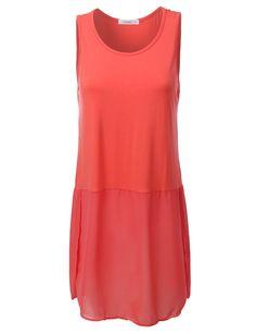 LE3NO Womens Sleeveless Jersey Tunic Top with Chiffon Hem