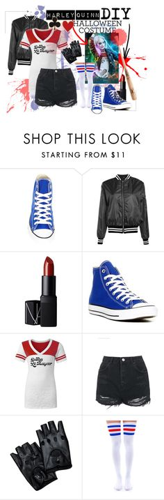"""""""DIY Harley Quinn Costume"""" by courtluvvv ❤ liked on Polyvore featuring Converse, Boohoo, NARS Cosmetics, Topshop, Leg Avenue and Alison Lou"""