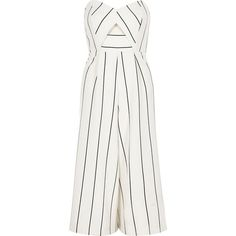 River Island White stripe bandeau culotte jumpsuit ($50) ❤ liked on Polyvore featuring jumpsuits, playsuit, dresses, romper, rompers/ jumpsuits, sale, white, women, white cutout jumpsuit and wide leg jumpsuit
