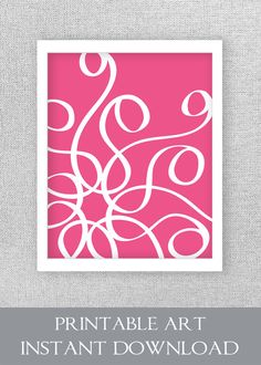 Printable Art Printable Artwork Hot Pink by InkandNectarDigital