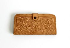 Vintage Tooled Leather Wallet Tan with Mexican Eagle and Mayan