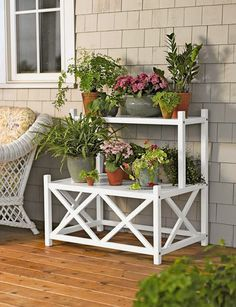 House Plants ~ Planters Cottage plant stand need to find plans to make this. Seems simple enough. Patio Plants, Cool Plants, Outdoor Plants, House Plants, Outdoor Plant Stands, Tiered Plant Stand Indoor, Wooden Plant Stands Indoor, Leafy Plants, Outdoor Balcony