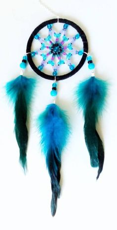 3 inch full beaded Dream Catcher - handmade with black suede, glass beads and blue coque tail feathers. You can find all my designs at https://www.facebook.com/pages/Dreamscape/471890606282556