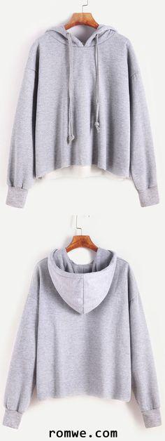 Pale Grey Dropped Shoulder Seam Hooded Sweatshirt