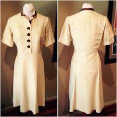Vintage Late 1930s Cream Shirtwaist Dress - 38 Bust 1930s Style, Shirtwaist Dress, Some Body, 1930s Fashion, Buttonholes, Collar Dress, Grosgrain, Short Sleeve Dresses, Silk