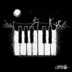 """Piano night"" by Alberto Arni. Musik Illustration, Creative Illustration, Piano Art, Piano Music, Tatoo Musical, Musica Love, Comedia Musical, Rock Argentino, Vigan"