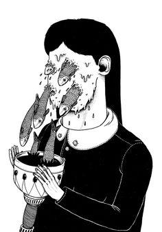 Illustrations/Comics (b/n) on Behance by Alessandro Ripane | Draw | Illustration | Drawing | Black |