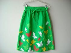 Vintage Vibrant Green Butterfly Skirt by Baxtervintage on Etsy, $26.00