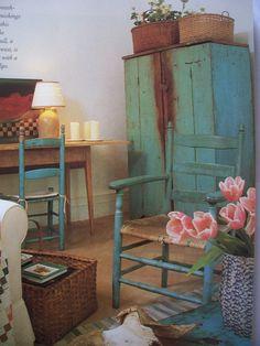 Mary Emmerling blue cupboard
