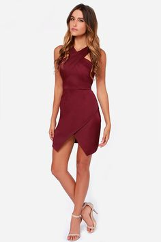 You're a born leader, and the Style Stalker Lean on Me Burgundy Dress is your new gown to rule in! Crossing shoulder straps top an envelope skirt for a chic look. Burgundy Gown, Burgundy Casual Dress, Black Dress Outfits, Casual Outfits, Maroon Dress, The Dress, Peplum Dress, Envelope Skirt, Dresses For Less
