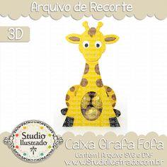 Caixa Girafa Fofa, caixa, girafa, fofa, cute giraffe box, cute, giraffe, box, fofo, baby giraffe, bebê girafa, bebê, baby, projeto 3d, boxes, box, arquivo de recorte, caixa, 3d,svg, dxf, png, Studio Ilustrado, Silhouette, cutting file, cutting, cricut, scan n cut.