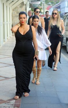Family trip: Sisters Kendall and Khloe joined Kim on the Caribbean isle...