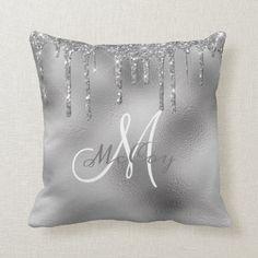 Silver Metal Glitter Drips Monogram Family Name Throw Pillow Monogram Pillows, Personalized Pillows, Custom Pillows, Decorative Pillows, White And Silver Bedroom, Blue Bedroom Decor, Bedroom Inspo, Silver Pillows, Abstract Digital Art