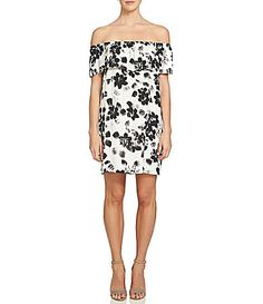 1 STATE Ruffled OfftheShoulder Short Sleeve Floral Printed Shift Dress #Dillards
