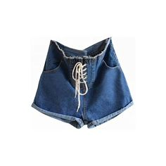 Tie Front Denim Shorts (£44) ❤ liked on Polyvore featuring shorts, bottoms, denim shorts, short, high-waisted denim shorts, high waisted shorts, high waisted jean shorts, high rise jean shorts and denim short shorts