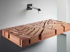 Water Map Sink by Julia Kononenko at MOCOVOTE -- wood basin representing the streets of central London in 3D