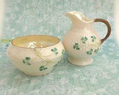 Vintage Belleek shamrock milk jug and sugar bowl, mid century by CardCurios on Etsy Vintage High Tea, Hey Diddle Diddle, Milk Jug, Fine Porcelain, Tree Branches, Sugar Bowl, Basket Weaving, Etsy