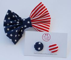 Red White and Blue American Flag Fabric Hair Bow and Earrings on Etsy, $5.00
